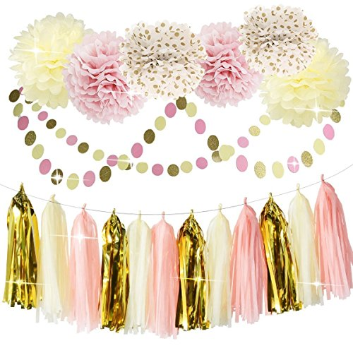 Bridal Shower Decorations Tissue Pom Pom Pink Cream Glitter Gold Tissue  Paper Pom Pom Paper Tassel Garland Polka Dot Tissue Poms For Girl Baby  Shower ...