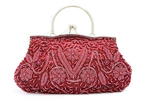 Whoinshop da donna, per abiti da sera, con lustrini, con perla incastonata, Wedding frizione Rosso (Vino)