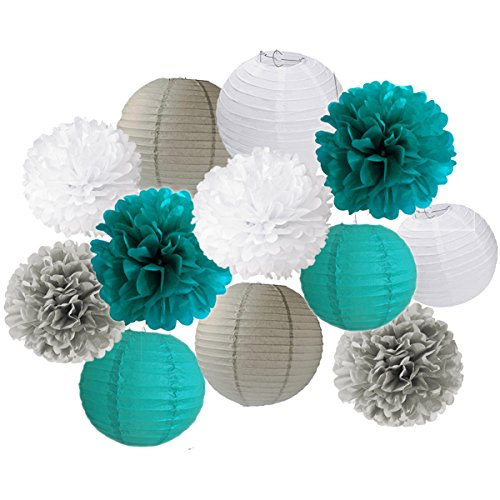 12PCS Teal Gray Baby Shower Party Tissue Paper Pom Poms Paper Lantern Ball Wedding Birthday Bridal Shower Nursery Decoration