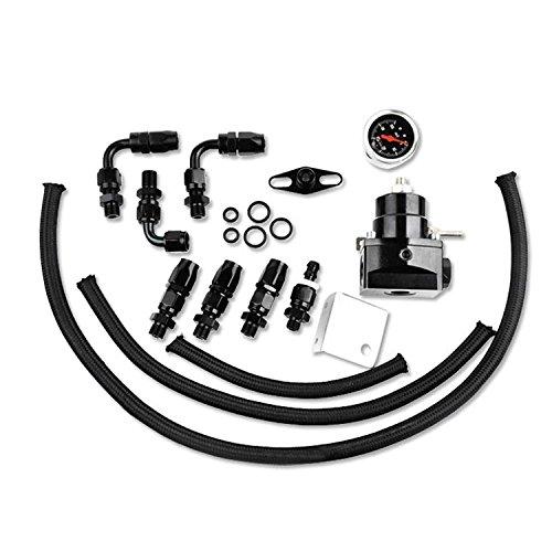 SUNROAD Universal Adjustable Aluminum Fuel Pressure Regulator Valve Kit and 100 Psi Pressure Gage with AN6 Fitting Connectors Kit Black