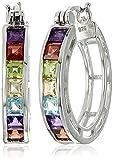 Rhodium Plated Sterling Silver Square Multi Gemstone 3mm Hoop Earrings