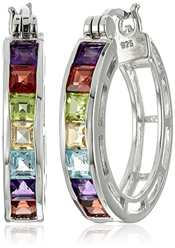 Rhodium Plated Sterling Silver Square Multi Gemstone 3mm Hoop - Multi Gemstone Blue Topaz