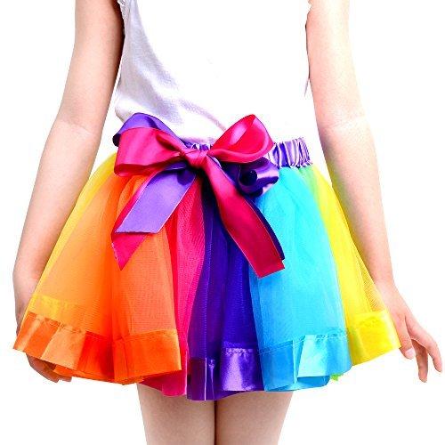 [JISEN Girls Layered 7 Color Rainbow Ribbon Tutu Skirt Dance Dress 4-6 Years Old] (Pictures Of Jazz Dance Costumes)