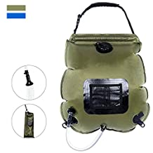 Camping Solar Shower Bag,iDeep 20L/5 gallons Solar Heating Premium Camping Shower Bag Hot Water with Temperature Below 50°C Removable Hose on-off Switchable Shower Head for Outdoor Hiking Climbing