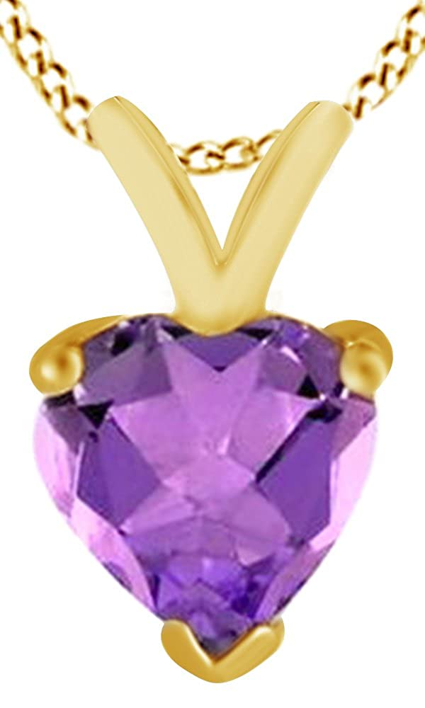 AFFY Heart Cut Simulated Amethyst Solitaire Pendant in 14K Gold Over Sterling Silver 1.5 Cttw
