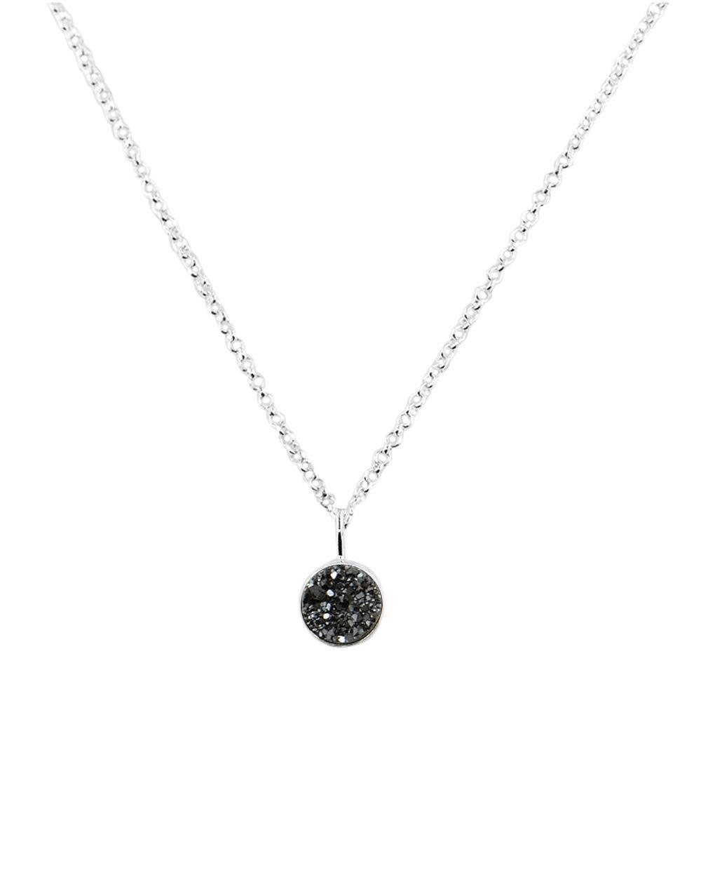 Black acrylic banana Belly Button silver synthetic Druzy stone 10mm BNL-2455