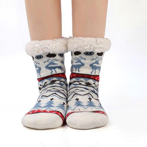 Calzini Jarseen Antiscivolo Caldo Termici Cervo Blu Pantofola Donna Suola Invernali Ultra Calze A Natale Morbidi Con Tw4qHT8