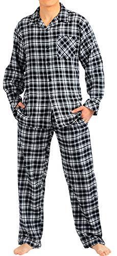 - NORTY - Mens Cotton Plaid Flannel Sleep Pajama Sets, Black, White 40781-Medium
