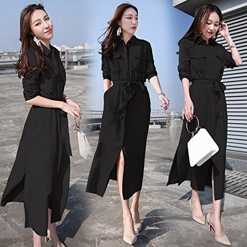 Las Stts Piano Y Marea Larga Pierden Temperamento Sección Moda 2xl negro Falda De Mujeres Dividida La Del Delgada Vestido rFBwFqnt
