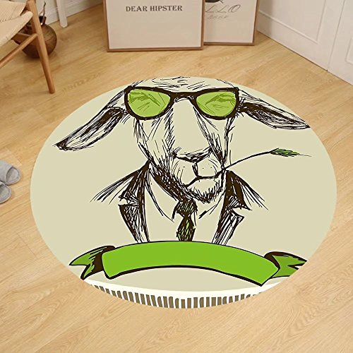 Gzhihine Custom round floor mat Modern Hipster Donkey with Grass on Mouth and Glasses Sketch Bedroom Living Room Dorm Pale and Fern Green Brown (Brown Rug Ferns)