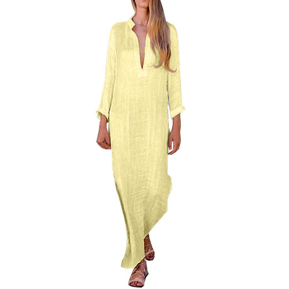 Huifa Women Boho Loose Long Sleeve Sundress V Neck Linen Kaftan Maxi Dress (Yellow,S) by Huifa Women Dress