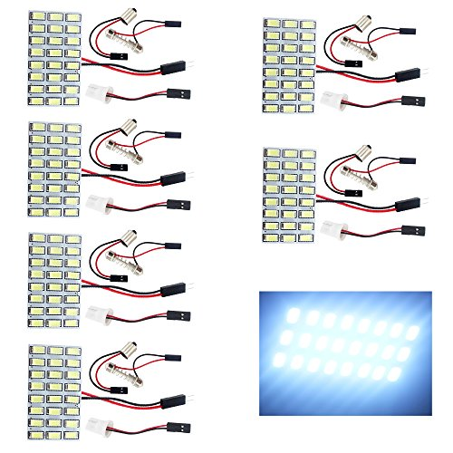 - EverBrightt 6-Pack Cool White 5730 24SMD Led Panel Dome Light Auto Car Reading Map Light Bulb DC 12V with T10 / BA9S / Festoon Adapters