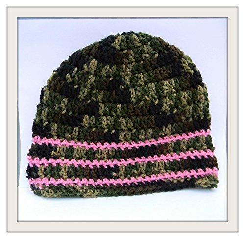 Crochet Skull Cap Pink Camouflage