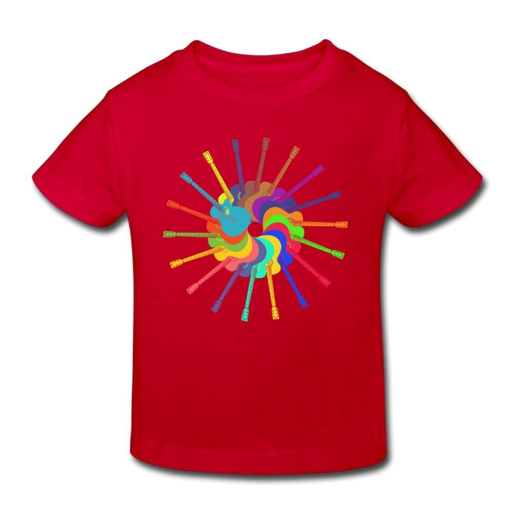 Wiongh Opp Short-Sleeves Shirt Rainbow Guitar Art Circle Childrens//Toddler For Unisex
