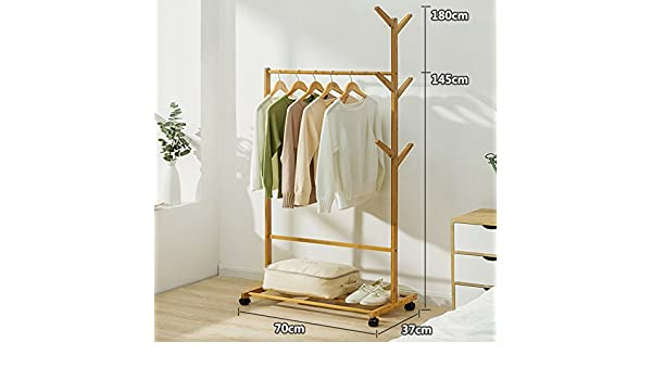 Amazon.com: Solid wood coat rack,Floor drying rack simple clothes pole indoor drying rack bedroom hanger clothes rack-B: Home & Kitchen