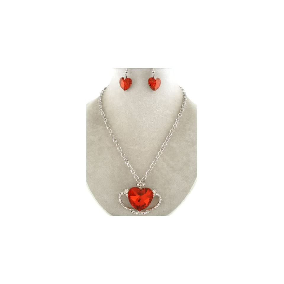 Fashion Jewelry ~ Red Crystal Heart Pendant Neckace and Earrings Set