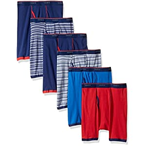 Hanes Men's 6-Pack FreshIQ Striped Sport Boxer Briefs (5 + 1 Free Bonus Pack), Assorted Stripe, Large