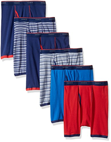 - Hanes Men's 6-Pack Striped Sport Boxer Briefs (5 + 1 Free Bonus Pack), Assorted Stripe, Large