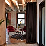 RoomDividersNow Muslin Tension Rod Room Divider Kit - Large B, 9ft Tall x 6ft 8in - 9ft 6in Wide (Black)