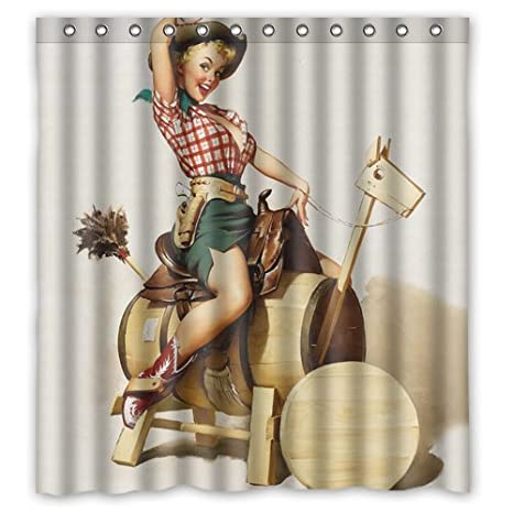 953fdf51f921 Image Unavailable. Image not available for. Color  Custom Personalized  Western Cowgirl Shower Curtain 66 x 72