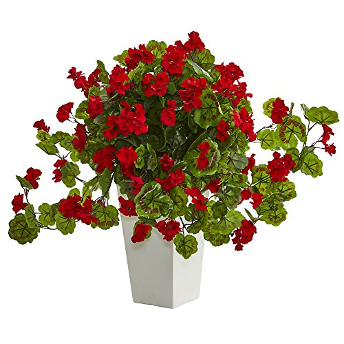 Geranium Planter - Nearly Natural Geranium Artificial Plant in White Tower Planter, Red