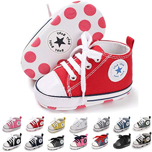 BENHERO Baby Girls Boys Canvas Shoes Toddler Infant First Walker Soft Sole High-Top Ankle Sneakers Newborn Crib Shoes