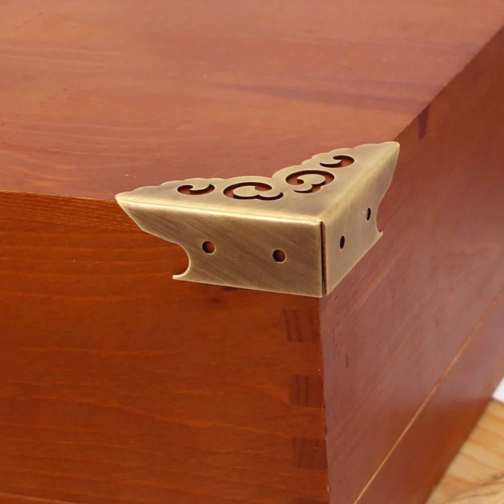 in legno Tiazza 4 pezzi Protezioni angolari in ottone anticato motivo a nuvole