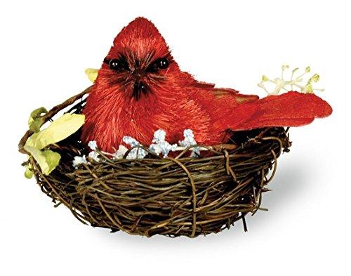 Boston International Winter Cardinal Figurine in Nest, Red Cardinal Nest