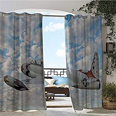 GUUVOR Balcony Curtains, Vintage Plane in Mid Air American Military Sky Aerospace Aircraft Fighter Jet Image, Outdoor Patio Curtains Waterproof with Grommets Blue White