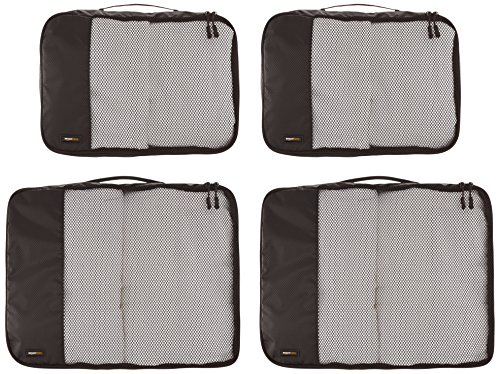 AmazonBasics 4-Piece Packing Cube Set - 2 Medium and 2 Large 2 Double zipper pulls make opening/closing simple and fast Mesh top panel for easy identification of contents, and ventilation Soft mesh won't damage delicate fabrics