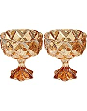 DoxiGlobal Pair of Glass Amber Cups Candle Holder Classic Footed Dessert Cups Fruit Salad or Pudding Crystal Ice Cream Bowls Wedding Centerpieces Scented Candlestick Holders Decors Dinning Party