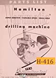Hamilton Varimatic Drill Machine Parts Manual