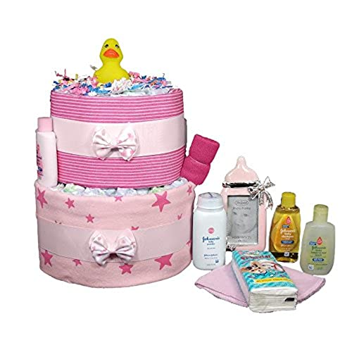 Baby diaper cakes amazon diaper cakes for a girl baby shower 10 piece pink ducky centerpiece gift set reheart Choice Image