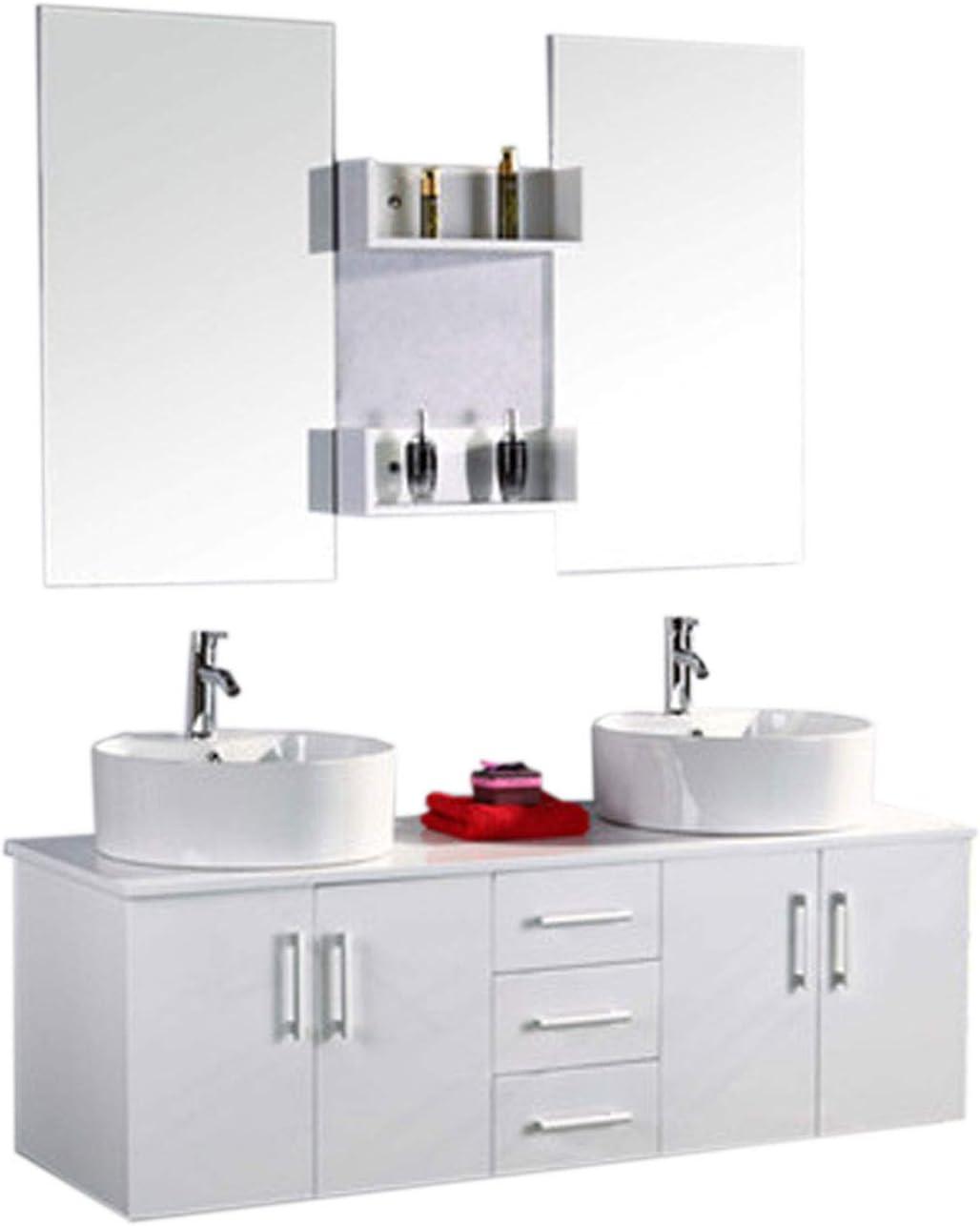 Muebles para baño para cuarto de baño con espejo baño 150 cm grifos incluido mueble + 2 espejos + repisas + grifería + fregaderos