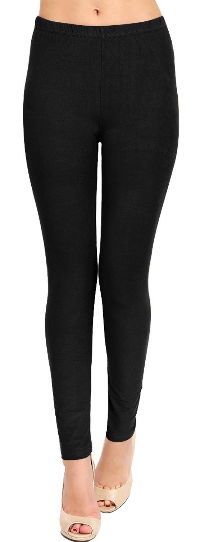 VIV Collection Plus Size Solid Brushed Leggings (Solid Black)