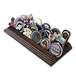4 Row Challenge Coin Holder - Military Coin Display Stand - Amazing Military Challenge Coin Holder - Holds 19-25 Coins 4 Rows Made in The USA! (Solid Walnut) from Coins For Anything Inc