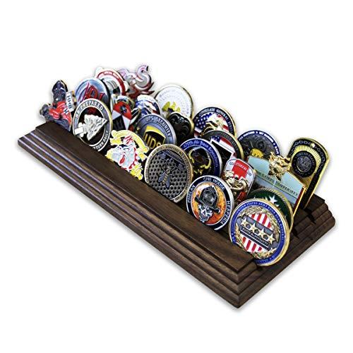 Coin Display Row (4 Row Challenge Coin Holder - Military Coin Display Stand - Amazing Military Challenge Coin Holder - Holds 19-25 Coins 4 Rows Made in The USA! (Solid Walnut))
