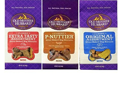 P-nuttier Biscuits - Old Mother Hubbard All Natural Oven-Baked Mini Dog Biscuits 3 Flavor Variety Bundle: (1) Classic Original Assortment, (1) Classic P-Nuttier, and (1) Classic Extra Tasty Assortment, 5 Oz. Ea. (3 Bags)