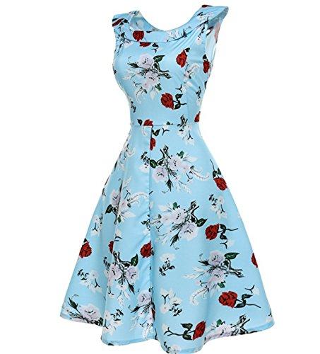 Dreamskull Vintage Retro Festliches Kleid Ärmellos Rockabilly ...