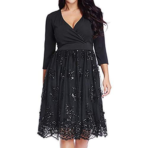 A Black 3 Surplice Size Sequin Mesh Women's Skater Dress Line Plus ZAFUL Sleeve 4 BAqzwRWO
