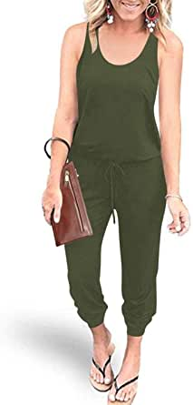 Margrine Women's Loose Solid Off Shoulder Elastic Waist Stretchy Long Romper Jumpsuit with Pockets