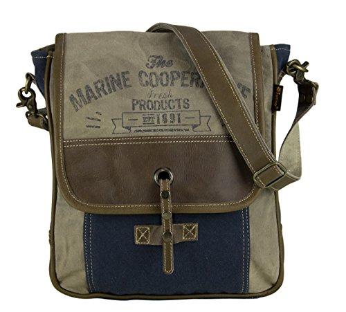 Sunsa Vintage Tasche Messengertasche Umhängetasche Schultertasche aus Canvas & Leder