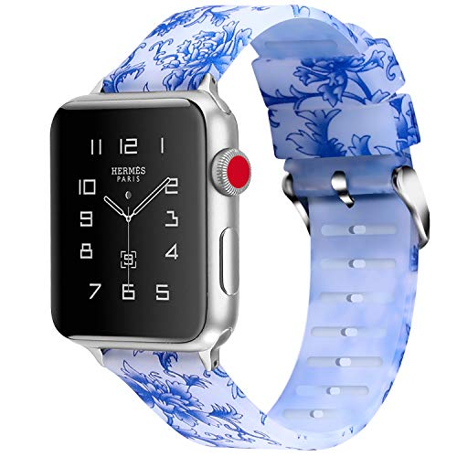 X4-TECH Compatible with Apple Watch Band, Choose Color Silicone Clear Pattern Printed Replacement iWatch Bands Compatible with Apple iWatch Series 4/3/2/1, Apple Sport/Nike+/Edition