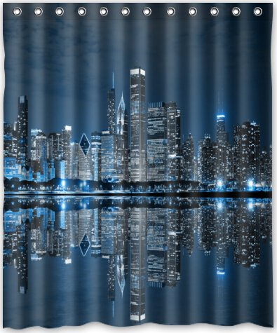 chicago skyline fabric shower curtain curtain menzilperde net. Black Bedroom Furniture Sets. Home Design Ideas