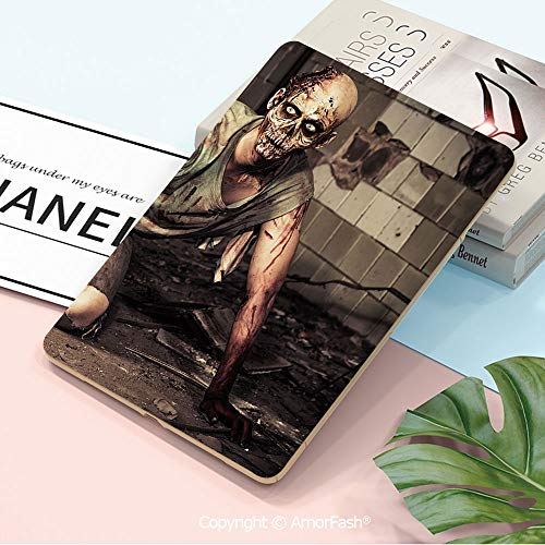 Printed Case for Samsung Tab A 10.5 inch SM-T590/T595 2018 with Auto Sleep/Wake,Zombie Decor,Halloween Scary Dead Man in Old Building with Bloody Nightmare Theme,Grey Mint Peach]()