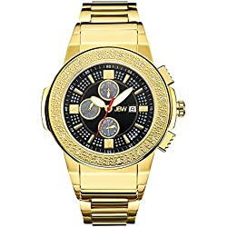 "JBW Men's JB-6101-J ""Saxon"" 18K Gold-Plated Stainless Steel Diamond Watch"
