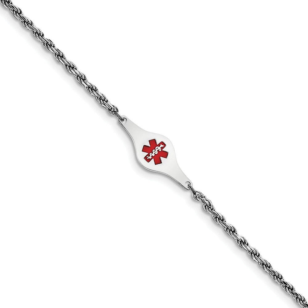 Top 10 Jewelry Gift Sterling Silver Rhod-plated Children's Medical ID Rope Link Bracelet