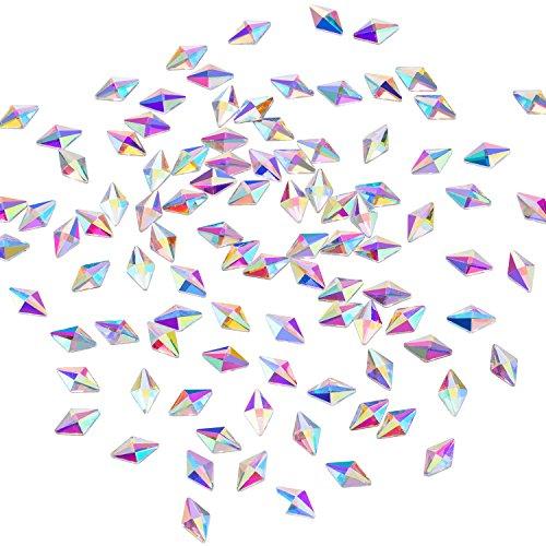 Mudder 100 Pack Flat Back Crystal Rhinestones Rhombus Gems for Nail Art Phone DIY Crafts