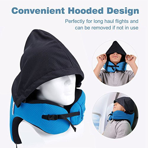 LANGRIA 6-in-1 Memory Foam Neck Support Travel Pillow with Detachable Hood Adjustable Neck Size for All Ages Side Elastic Pocket Neck Travel Cushion for Plane Train Car Bus Office (Blue) by LANGRIA (Image #1)