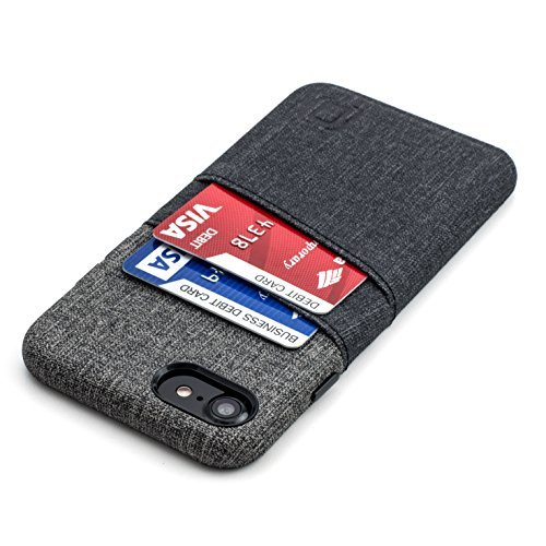 Iphone Executive Case - Dockem Luxe Wallet Case for iPhone 8 and 7 - Slim Synthetic Leather Card Case with UltraGrip Twill Canvas Styling; Professional Executive Cover with 2 Card Holder Slots [Black and Grey]